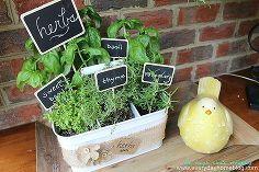 utensil caddy herb garden, chalkboard paint, crafts, flowers, gardening