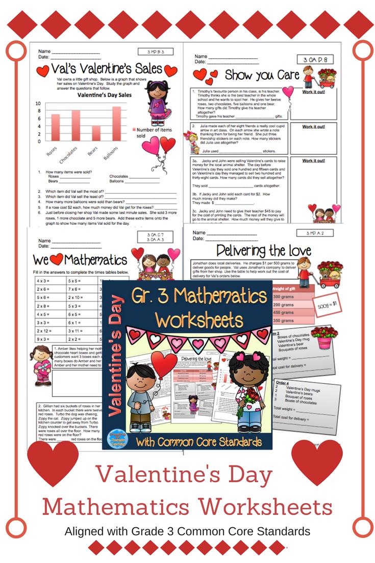 Valentines Day Mathematics Worksheets Grade 3 Pinterest Common