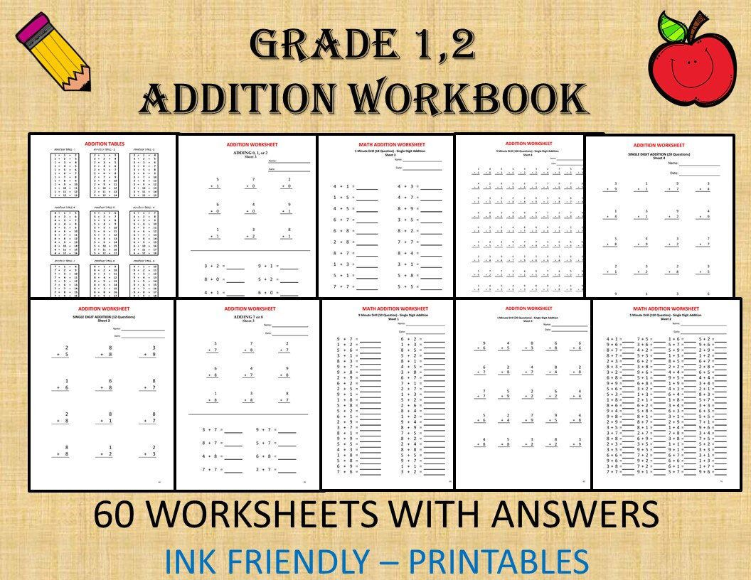 Math Addition Worksheets For Grade 1 2 Year 1 2