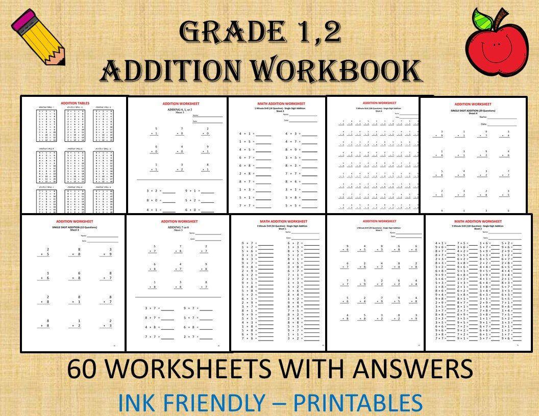 Grade 1 Math Workbook One Per Day 120 Math Worksheets Etsy Math Workbook Kids Worksheets Printables Math Worksheets [ 816 x 1056 Pixel ]