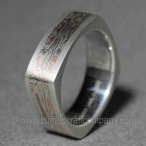 PAIGE SQUARE MOKUME GANE MENS WEDDING BAND Hand Fabricated From 14k Palladium White