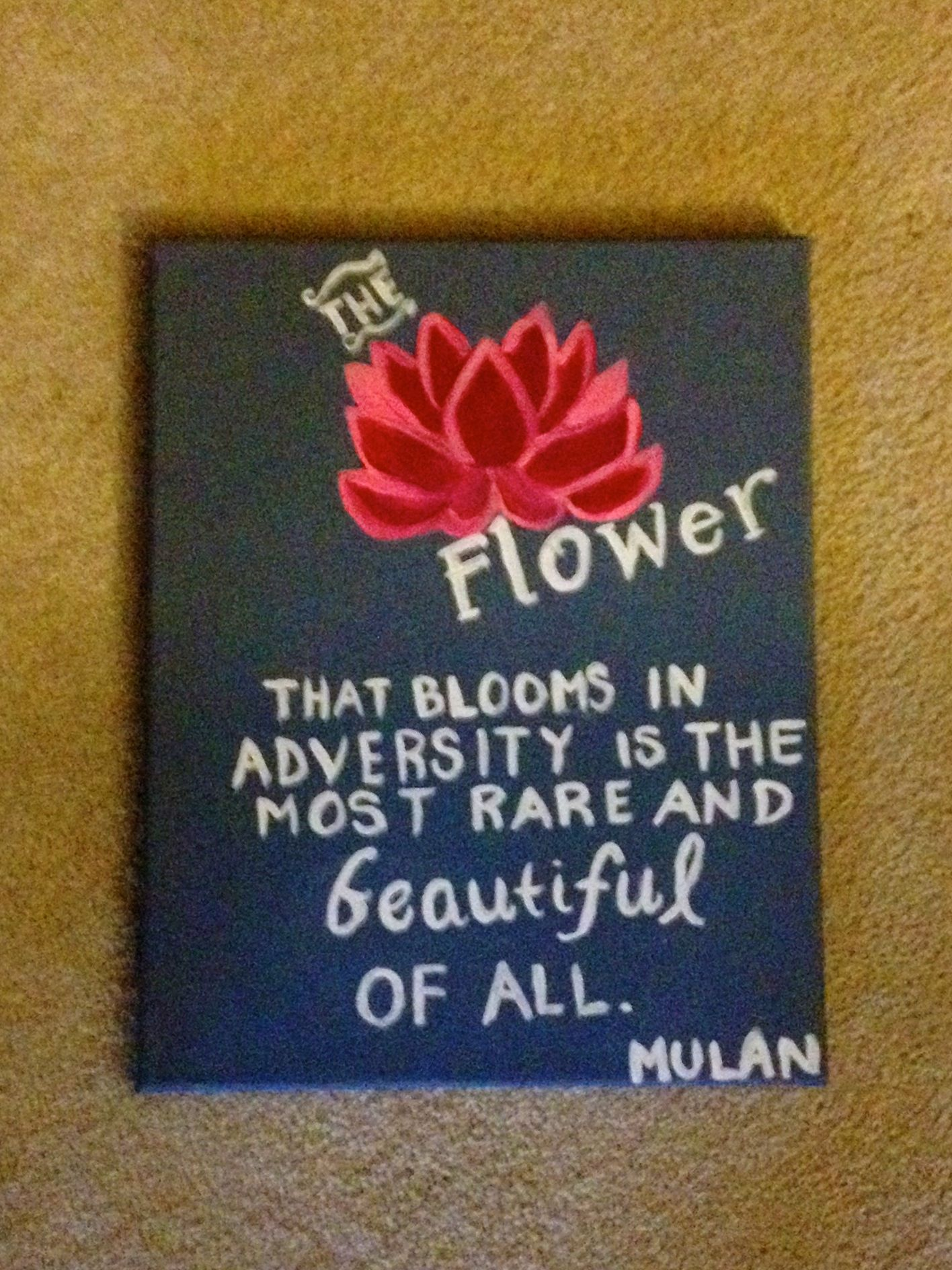 Mulan lotus flower and quote canvas do it yourself Pinterest