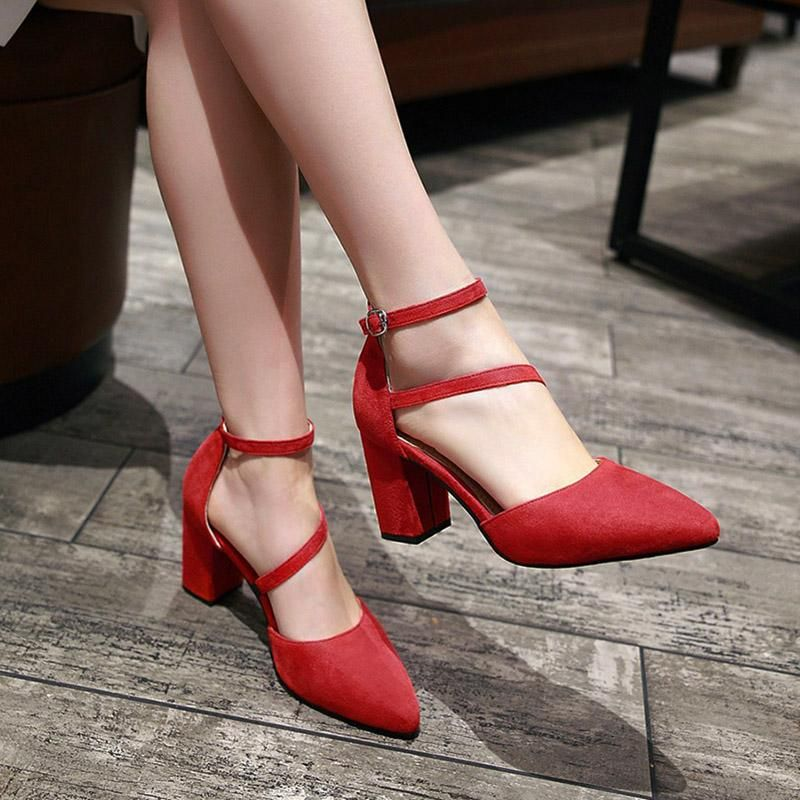 439fedd783f Ankle Strap Red Shoes Women Narrow High Heels Shoes Large Size Pumps ...