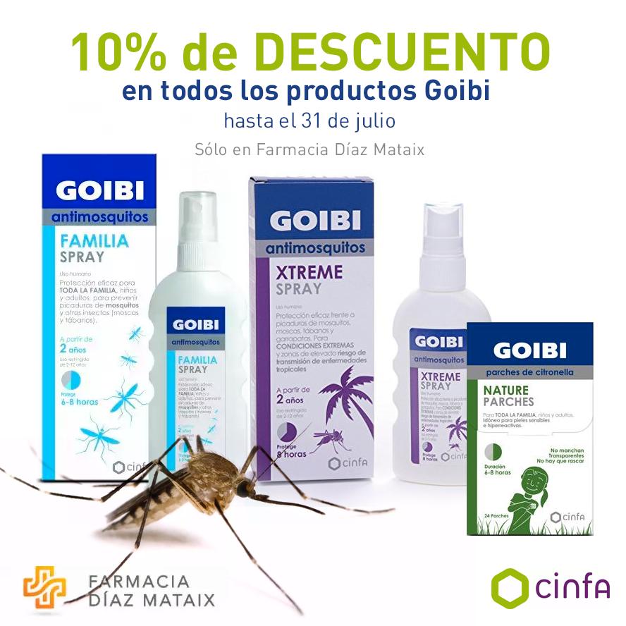 Olvídate de los mosquitos con los productos de la marca Goibi, ahora con un 10% de descuento. Sólo disponible en farmacias.