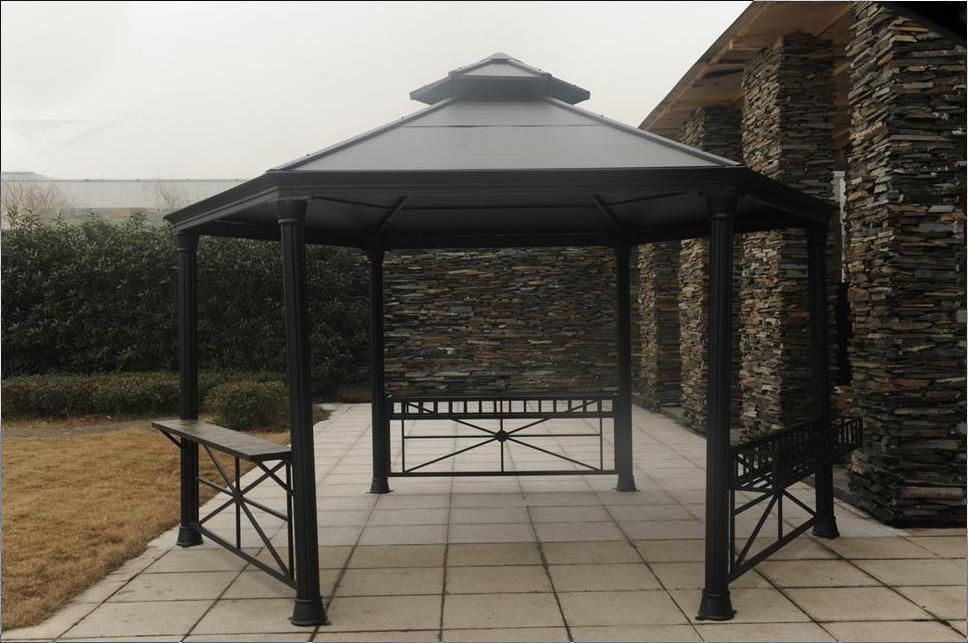 Hexagon Aluminum-Steel Black Hardtop Gazebo In Arches