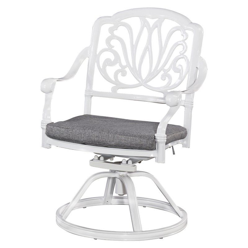 Outdoor Home Styles Floral Blossom White Cast Aluminum Patio Swivel Chair with Cushion - 5562-53