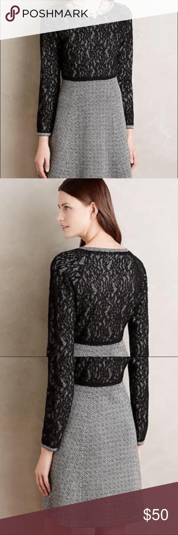 "Anthropologie Farah Lace Dress NWOT, Size XL. Falls 35"" from shoulder. Viscose, nylon, cotton, wool, cashmere knit. Lace overlay detail. Anthropologie Dresses Long Sleeve"