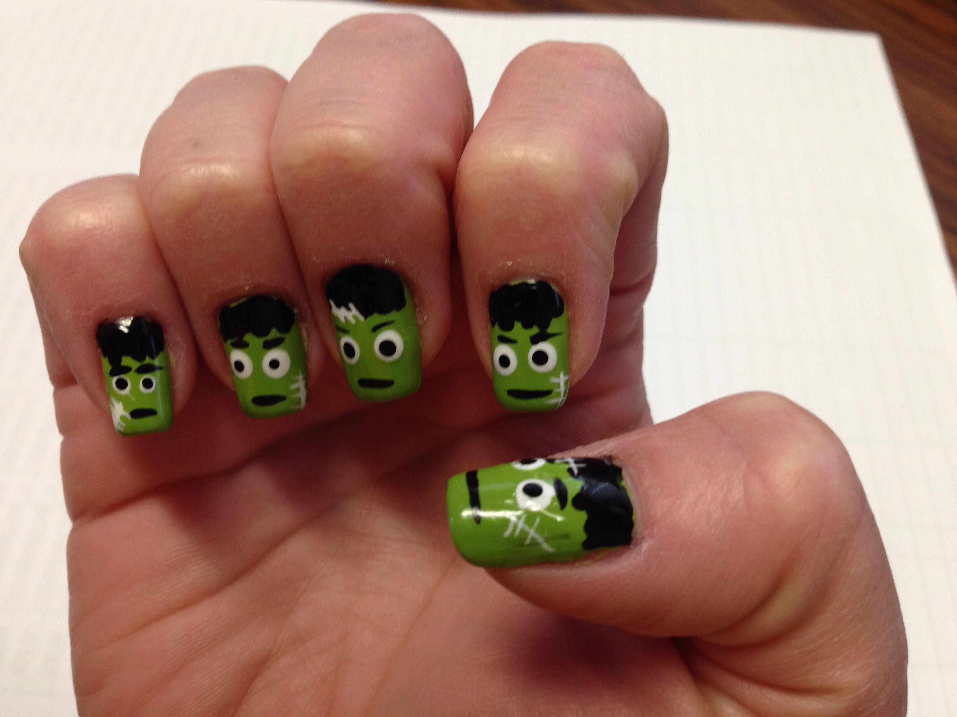 Halloween Frankenstein Nails Topsimages