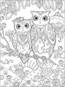 Free Two Owls In A Tree Coloring Page For Adults Free Adult