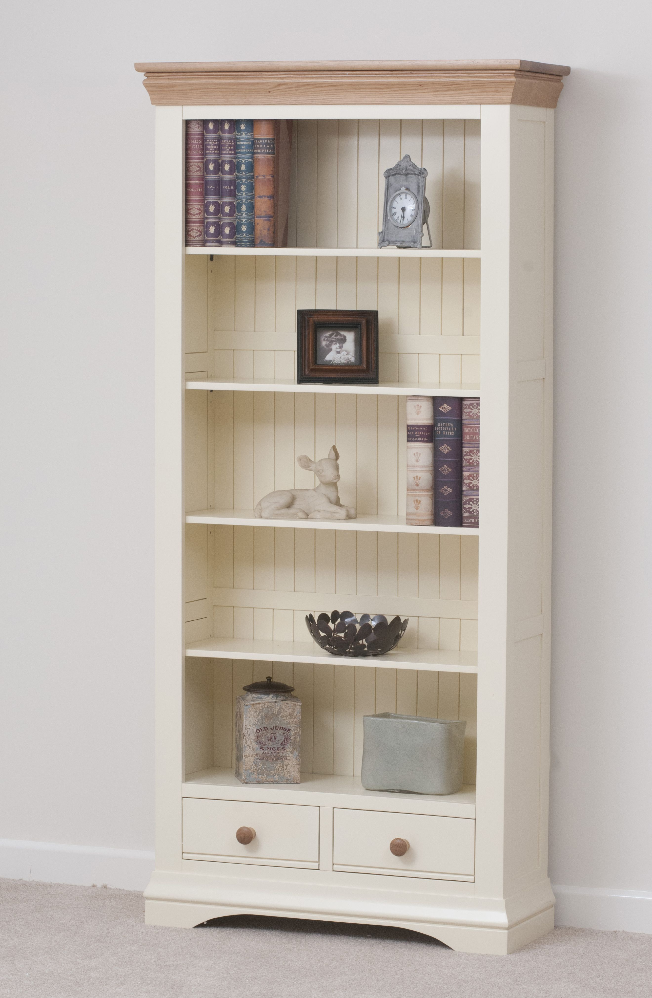 Country Cottage Painted Funiture Cabinet Cream Large Bookcase Oak Furniture Land Www Oakfurnitureland