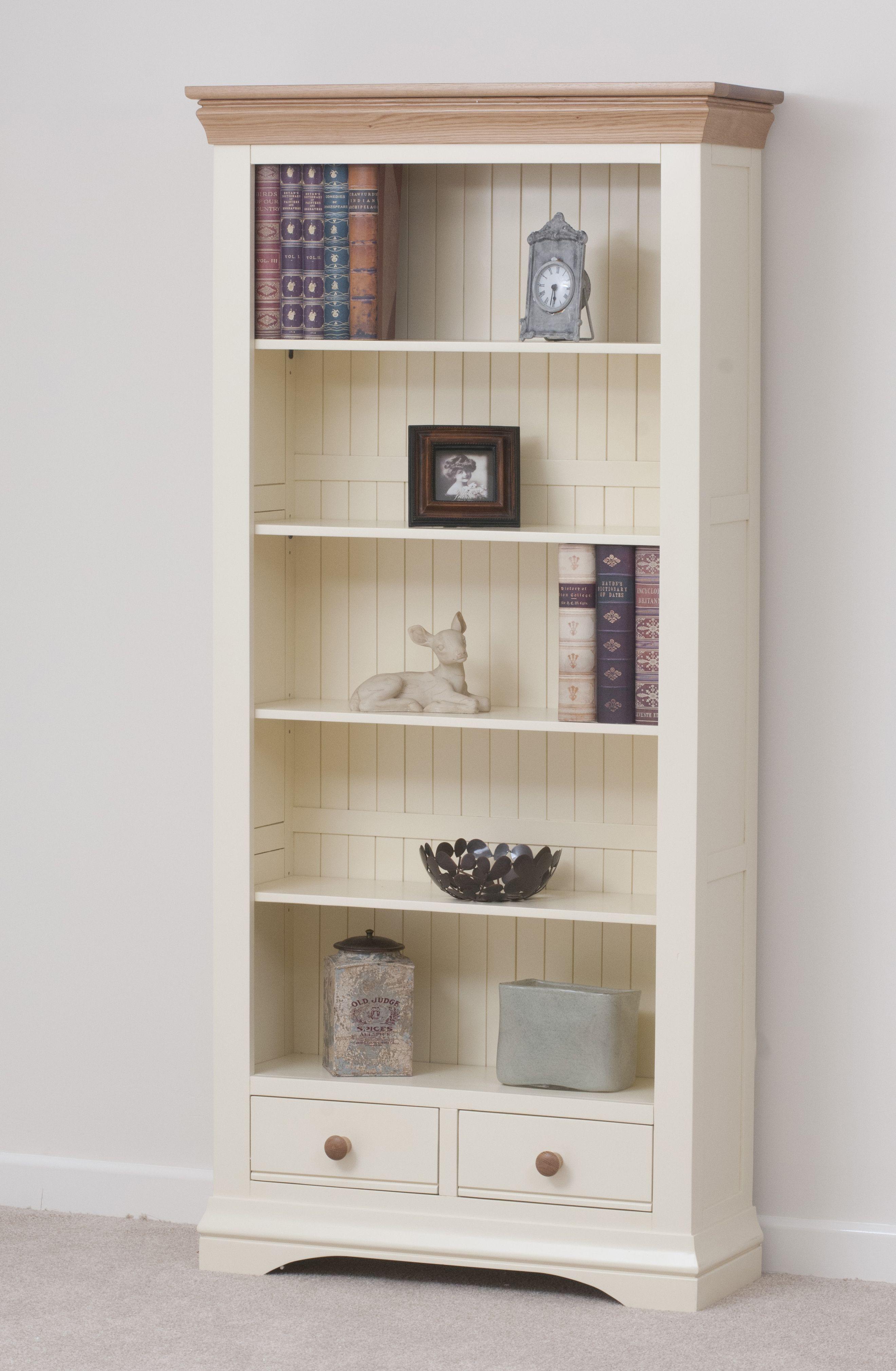 Country Cottage Painted Funiture Cabinet Cream Large Bookcase Oak Furniture Land Www Oakfurnitureland Co Uk