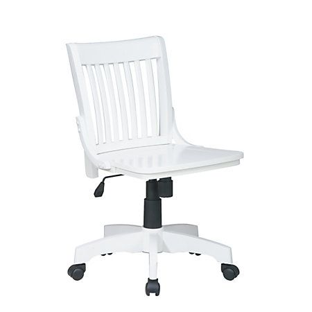 Osp Designs Armless Wood Bankers Chair White By Office Depot Officemax White Desk Chair Wood Office Chair Bankers Chair