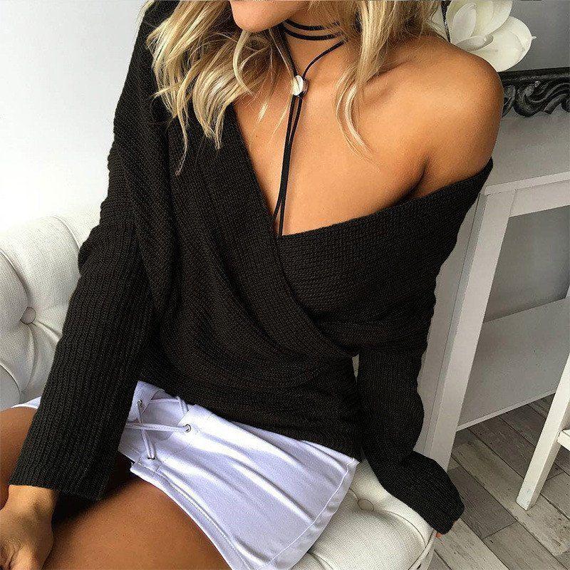 Deep V-neck Long Sleeves Irregular Cross Wrap Sweater