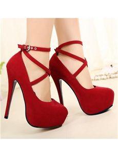 cc84b846b01 Fashion Stiletto Heel High Platform Red Suede Upper Prom Shoes ...