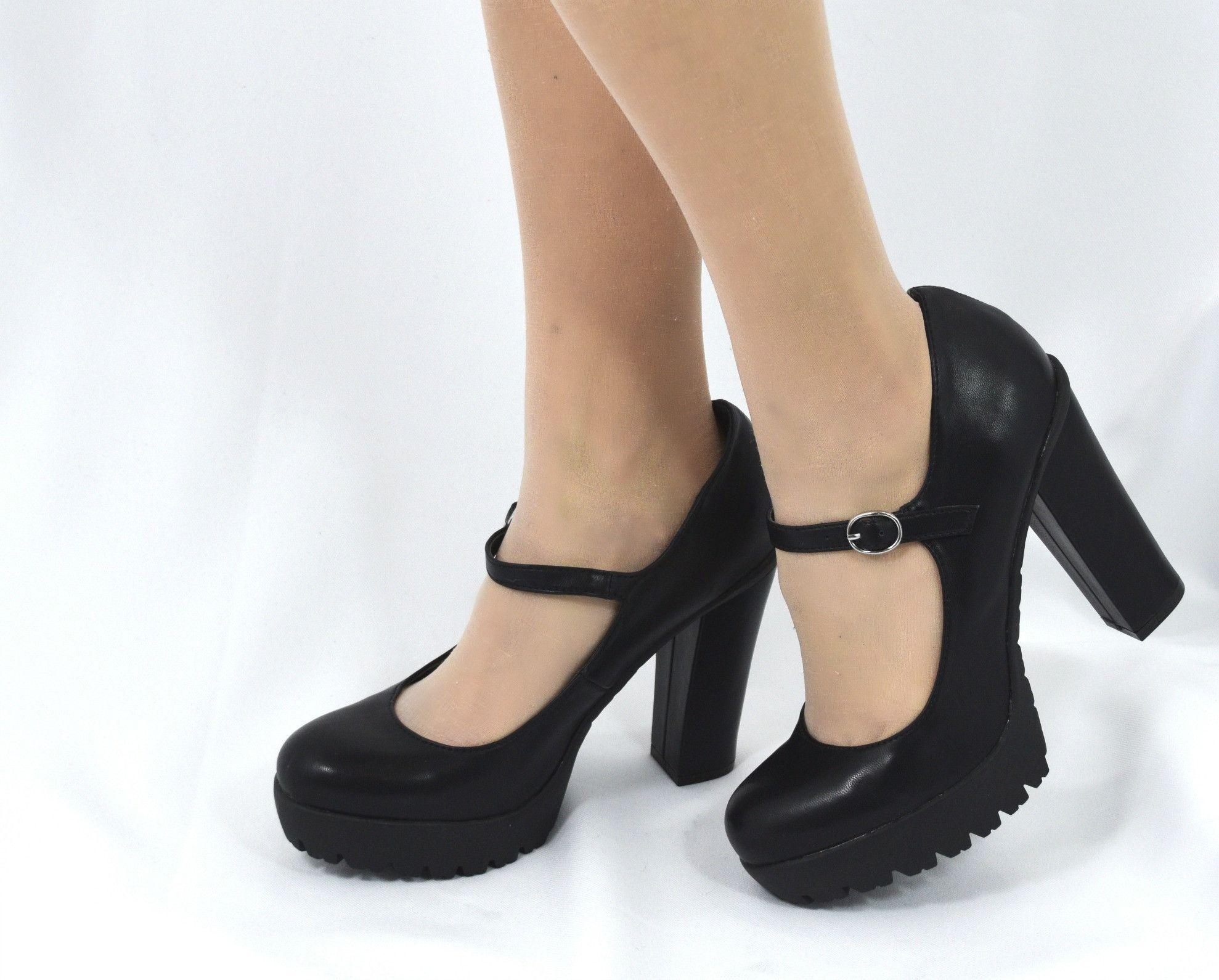 black mary jane pumps chunky heel