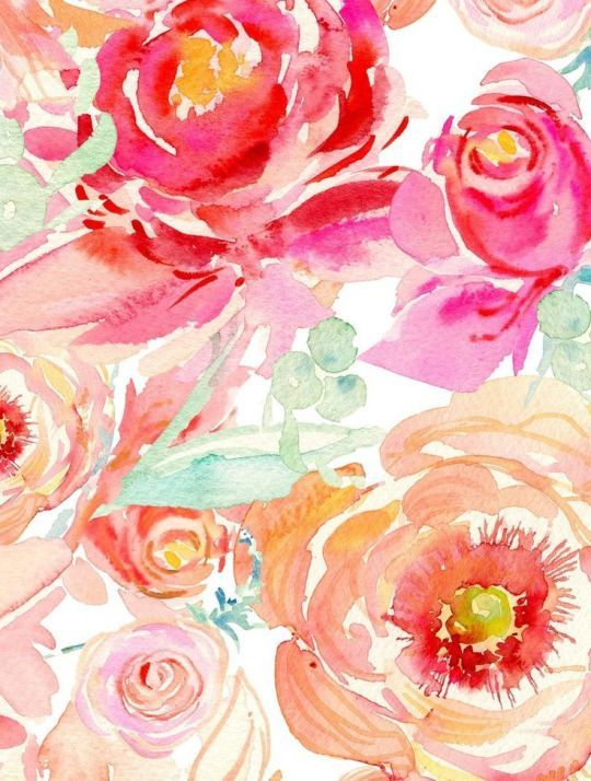 wallpaper porches floral flowers watercolor roses watercolors ...