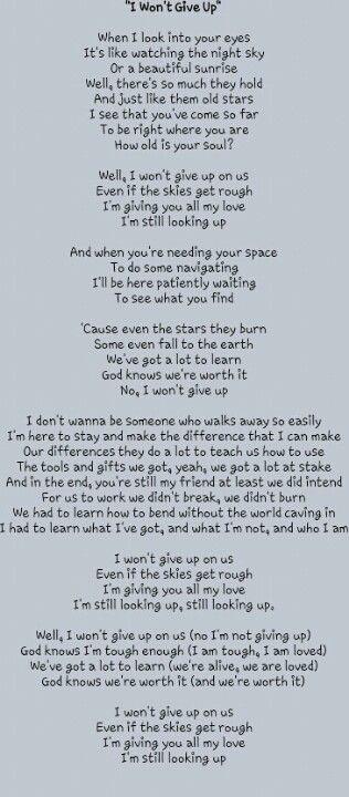 I Wont Give Up Lyrics By Jason Mrazautiful Song Quotes