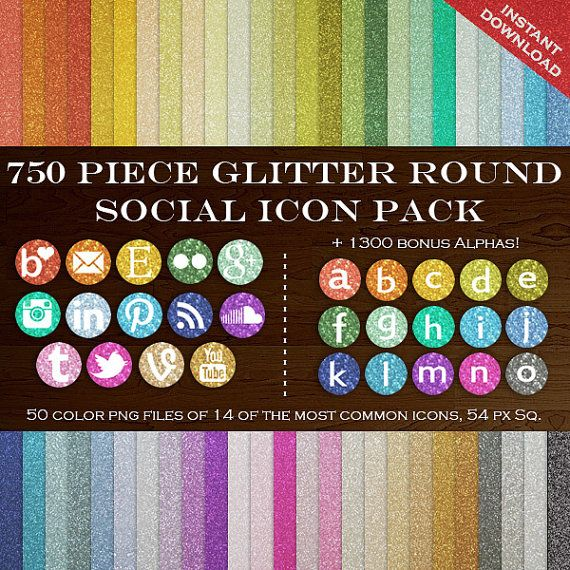 HUGE Social Media Icon Package 700 Glitter Blog Button