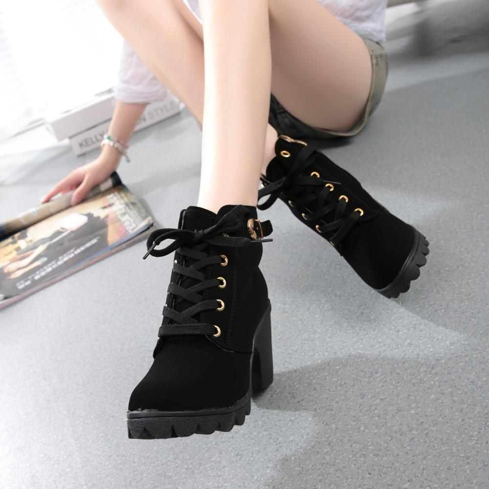 f057f0e53c3ba Womens Fashion High Heel Lace Up Ankle Boots Ladies Buckle Platform Shoes