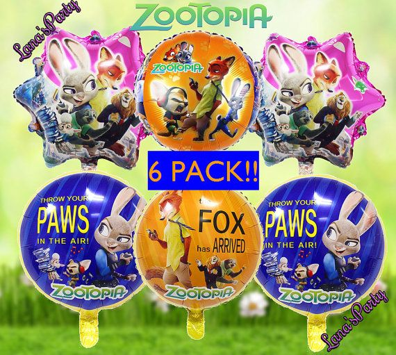 6 Pack Zootopia Balloons Set 18 Disney Party Balloon By LanasParty