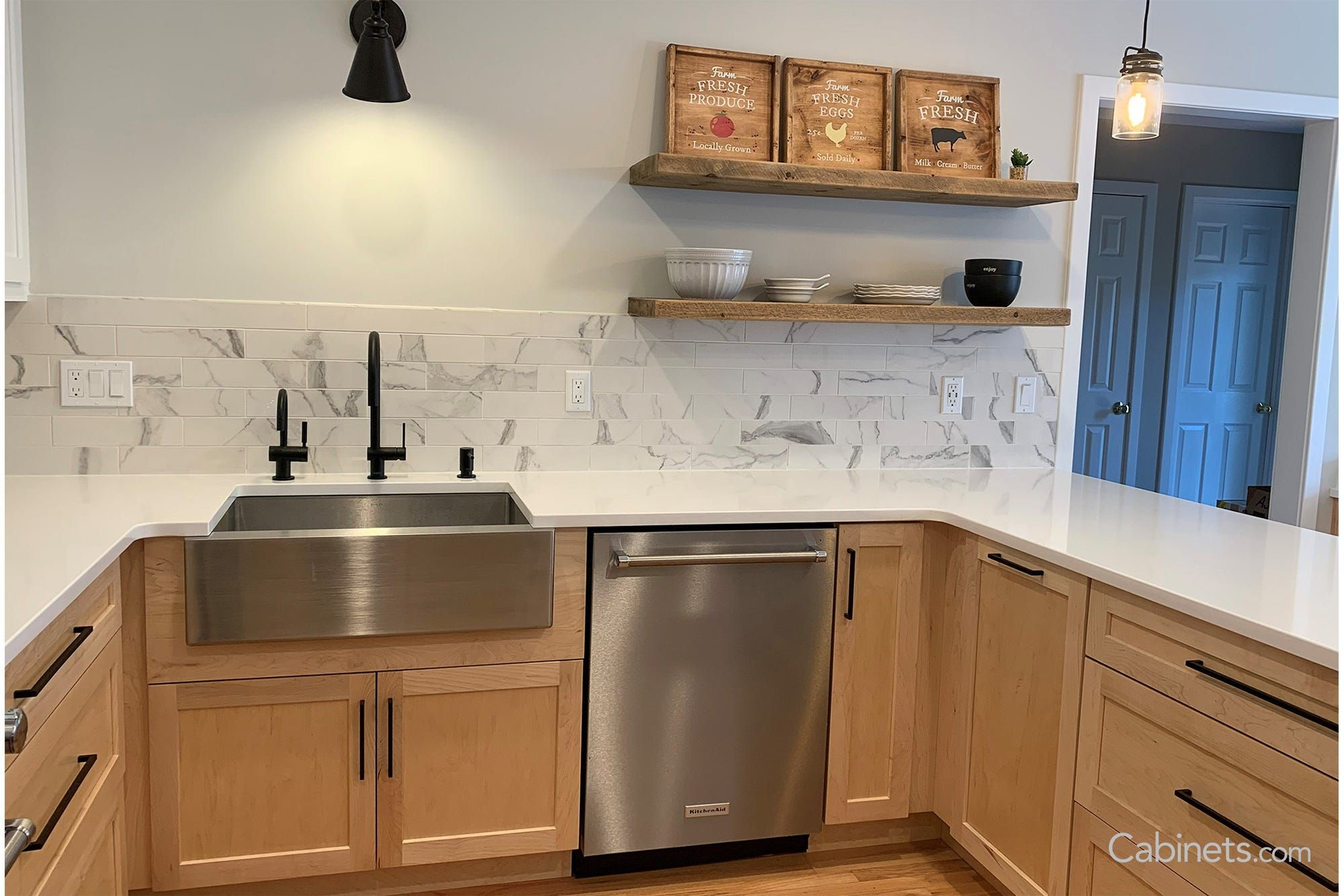 Modern White And Natural Maple Kitchen With Black Hardware Cabinets Com Modern Maple Kitchen Maple Kitchen Cabinets Natural Kitchen Cabinets