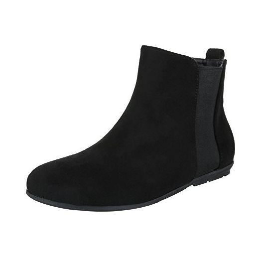 Chelsea Boots Damen-Schuhe Chelsea Boots Blockabsatz Komfort Reißverschluss  Ital-Design Stiefeletten Schwarz,