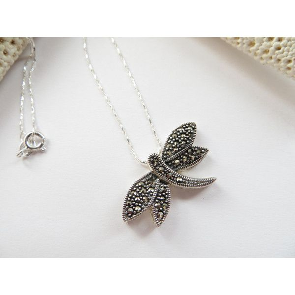 Marcasite Dragonfly necklace, Sterling Silver Dragonfly Slide... (€62) ❤ liked on Polyvore featuring jewelry, necklaces, marcasite necklace, polish jewelry, twist jewelry, sterling silver necklace and holiday jewelry