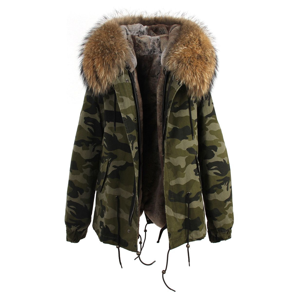 Camouflage Natural Fur Hooded Parka Camouflage Coat Fur Hood Parka Faux Fur Lined Coat [ 1200 x 1200 Pixel ]