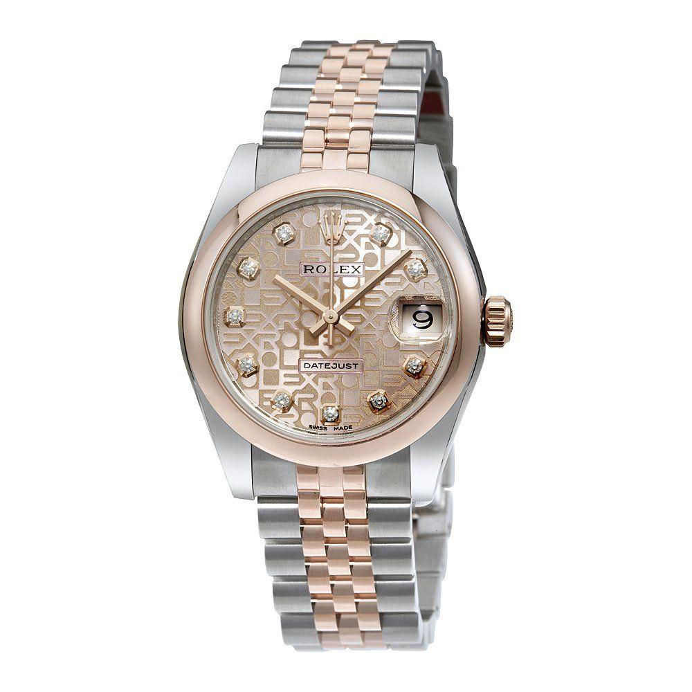 Rolex datejust pink jubilee diamond dial steel and k everose