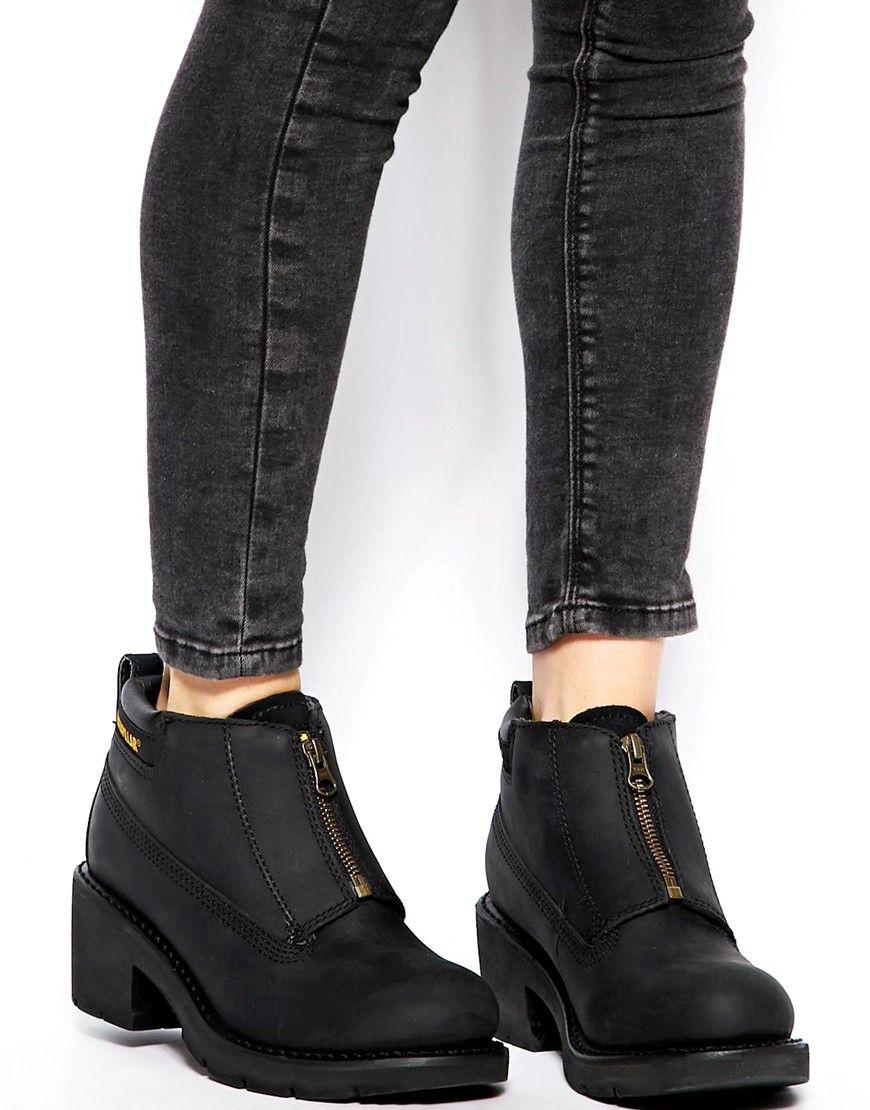 Fashion · Image 1 of Cat Footwear Ottawa Black Zip Heeled Ankle Boots