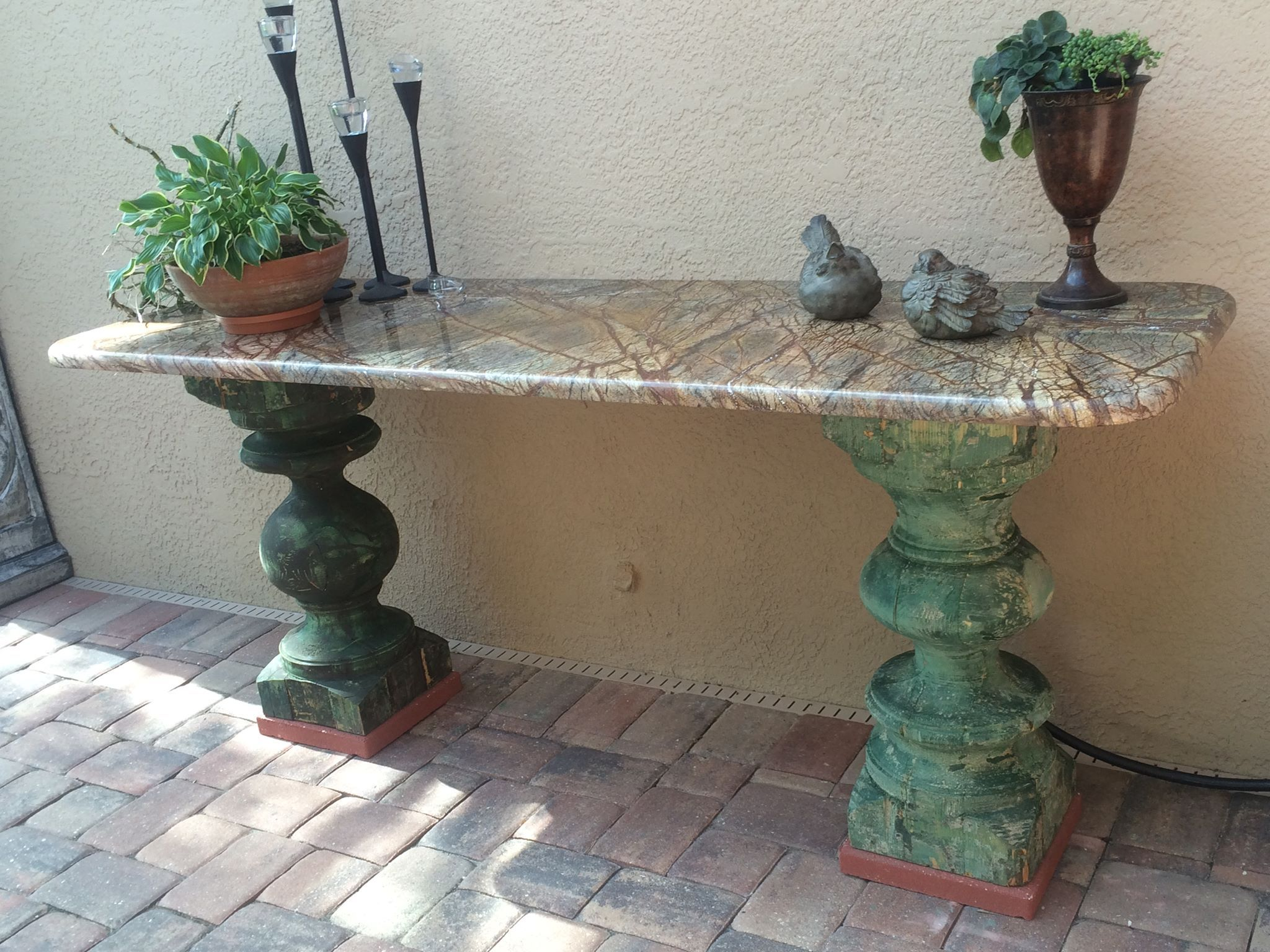 Our Outdoor Buffet Table Made With Forest Green Granite And Old Ballusters From Egypt Measures 76lx24wx Outdoor Buffet Diy Patio Table Outdoor Buffet Tables