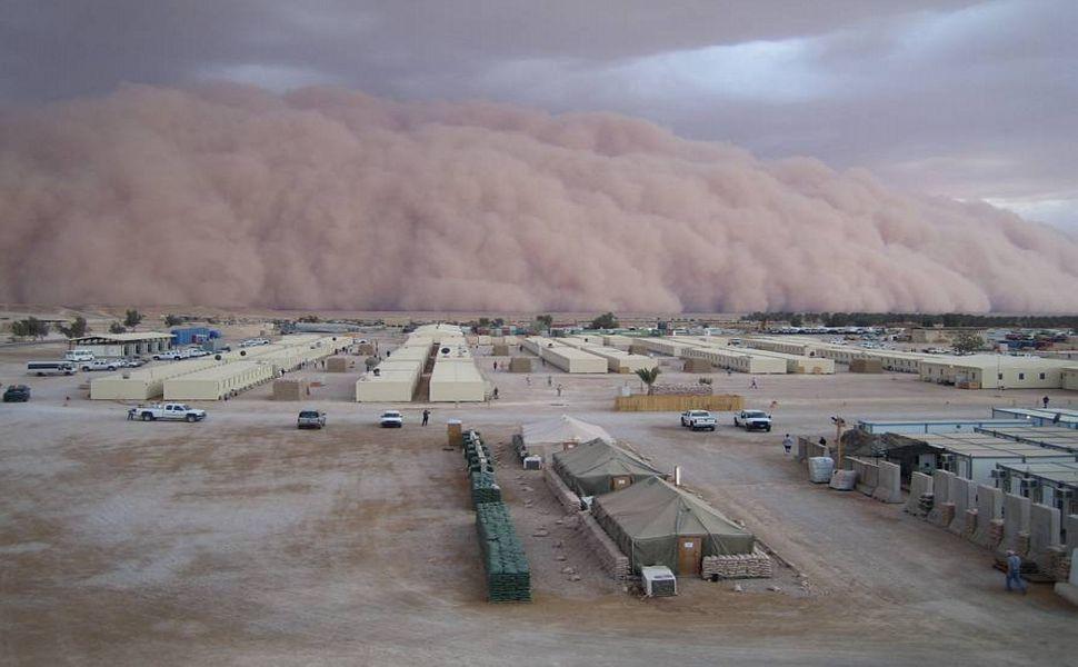 Sand storm in Iraq military base HD Wallpaper Dust storm