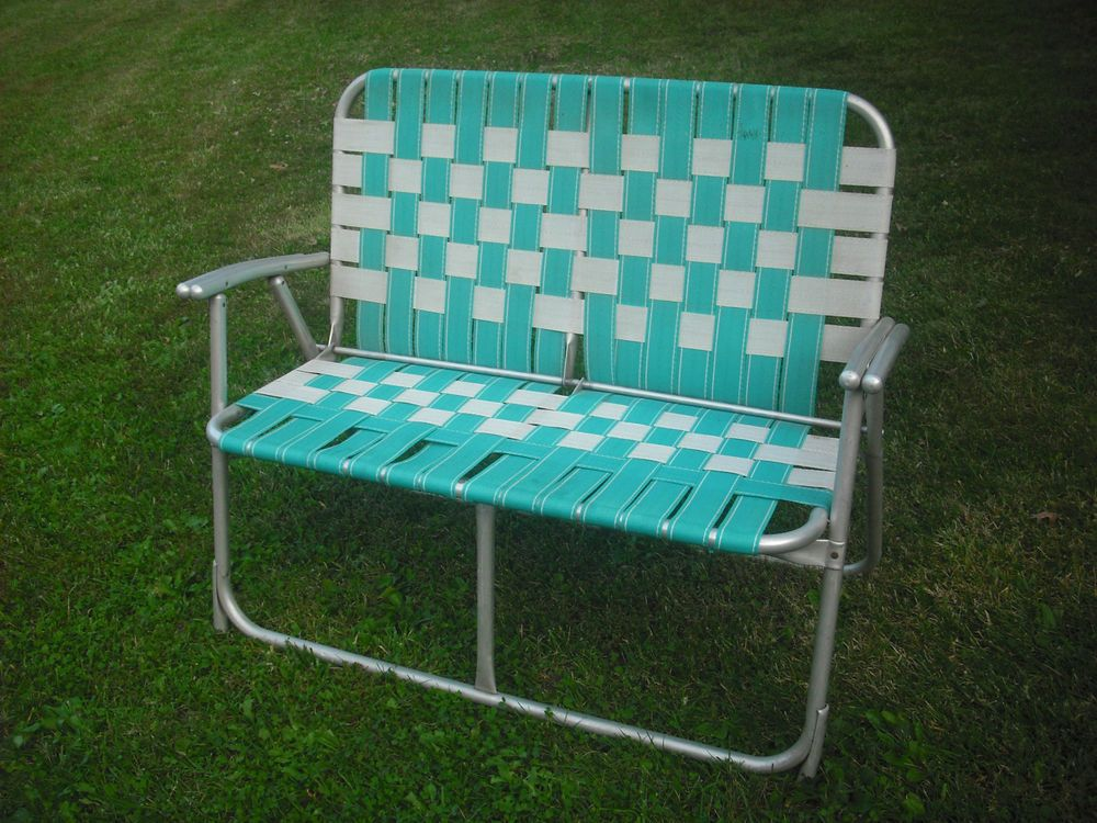RARE VINTAGE WEBBED ALUMINUM FOLDING LAWN CHAIR LOVE SEAT Camper Stuff