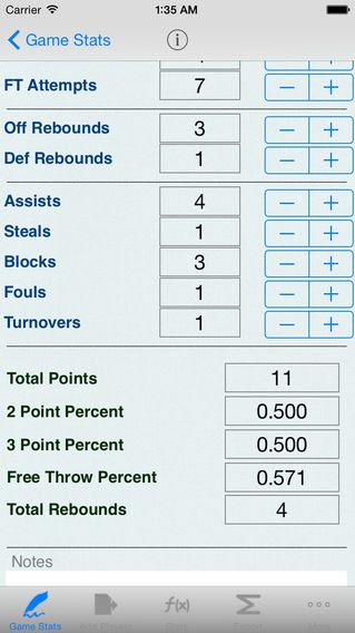 Basketball Stats Game Notes  Player Statistics Field Goals