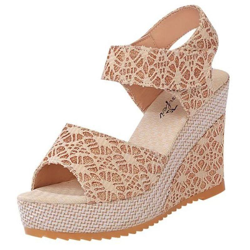 Women's High-Heels Frosted Solid Hook-and-loop Peep Toe Platforms & Wedges