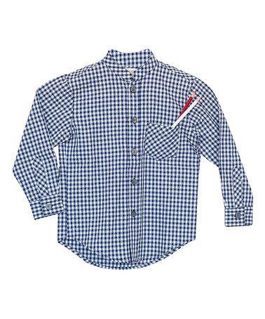 Blue Gingham Bruce Button-Up - Kids & Tween #zulily #zulilyfinds
