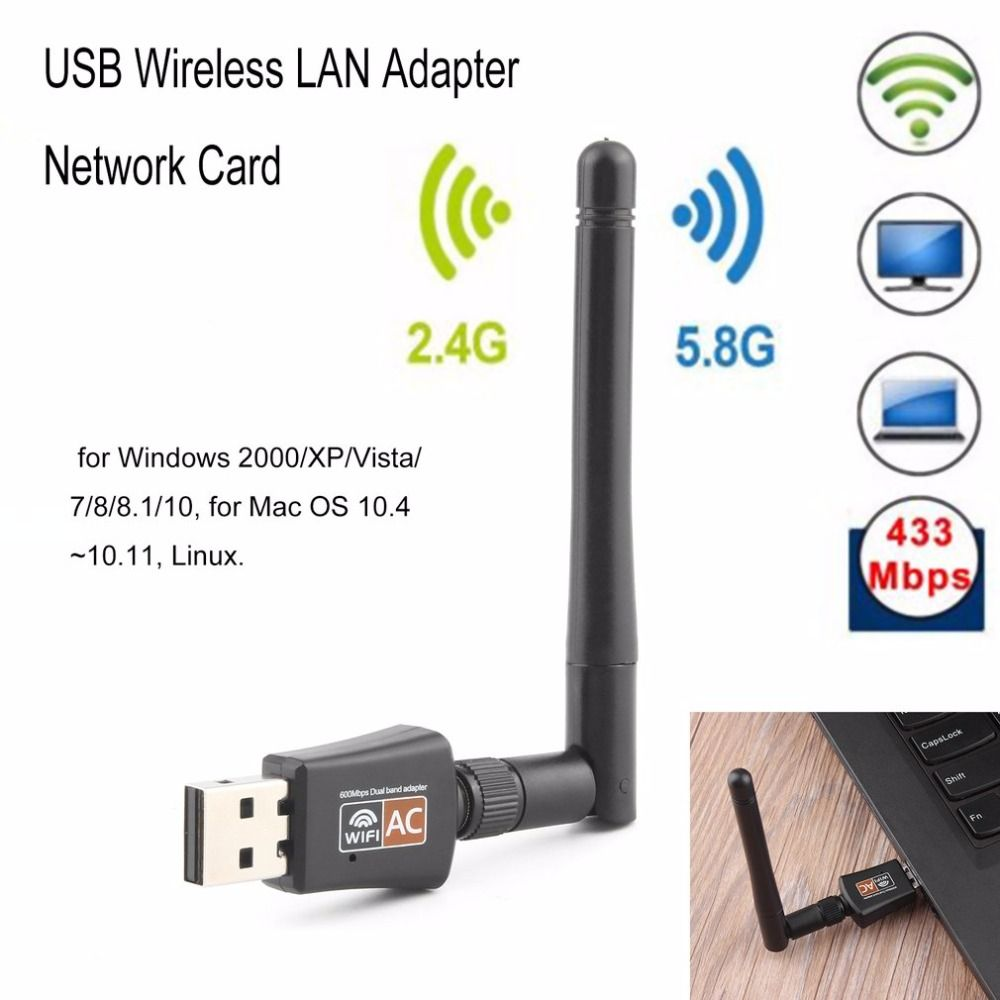 WiFi Adapter Mini WiFi Receiver 2.4//5GHz Dual Band 600Mbps Wireless Adapter