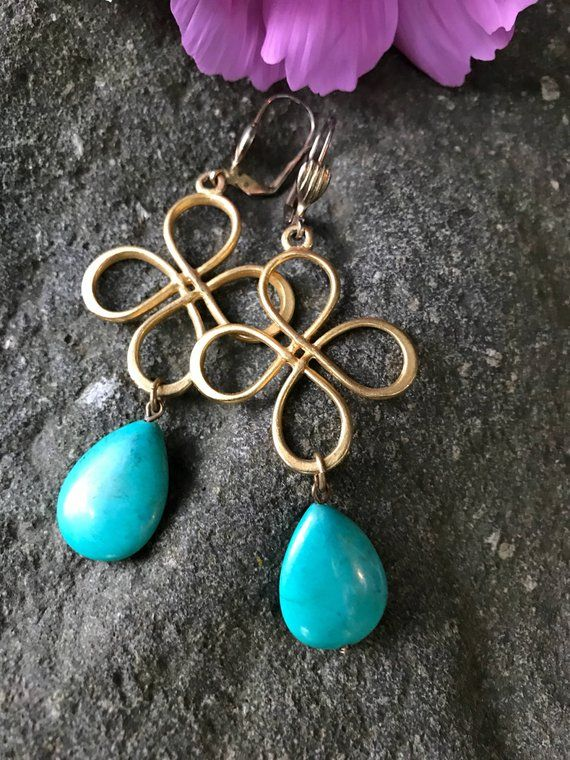 Turquoise Blue Green Stone dangles, Matte Goldtone Celtic