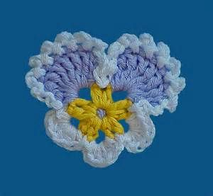 PATTERN Crochet Applique Flowers Pansy Daffodil Daisy