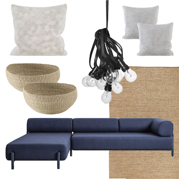 September 2015 // Inspiration for the veranda and living room. Blue Palo sofa and grey storm pillows by Hem. Lights by GRANIT. Bowls and rug by IKEA Sinnerlig collection. A piece of archipelago www.palasaaristoa.com