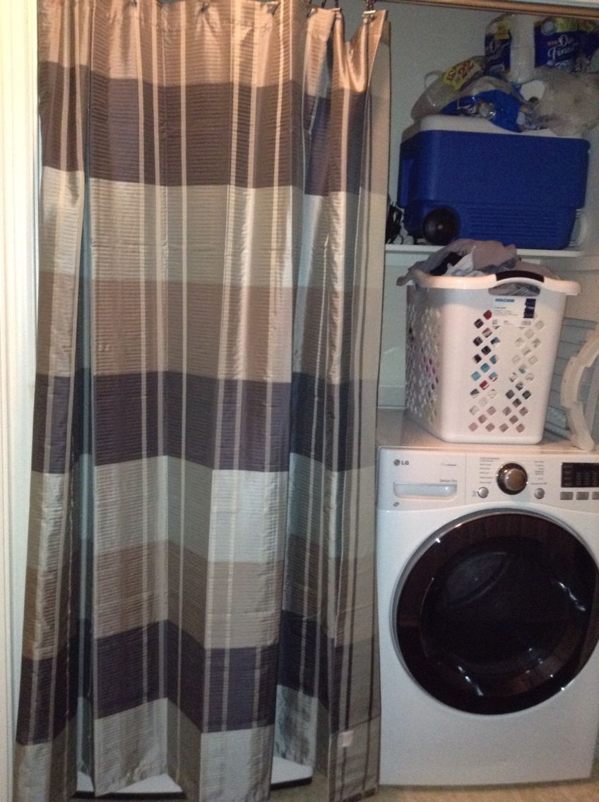 Shower Curtain Over The Washer Dryer Room Room Interior Curtains