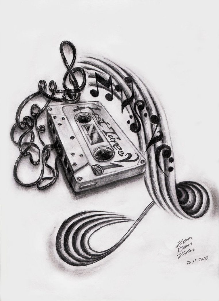 Tattoo stencil and pencil drawings and sketches music cassette design by zenbenzen on deviantart
