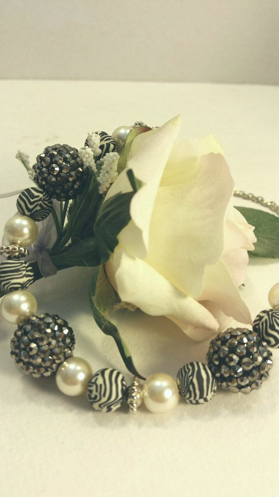 Zebra print and ivory pearl necklace by SnoBirdBeads on Etsy