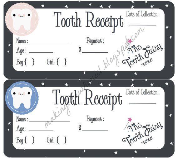 Tooth Fairy Receipt Printable Boy Or Girl Instant Download Tooth Fairy Receipt Printable Tooth Fairy Receipt Happy Kids