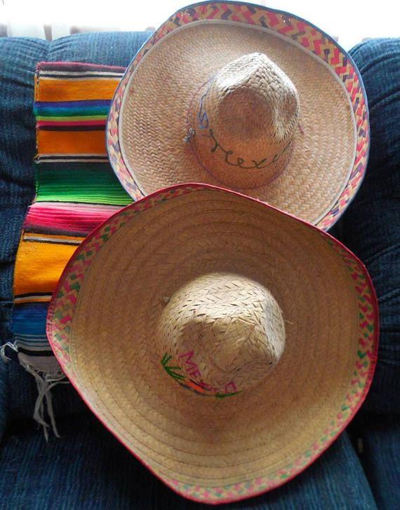 Mexican straw hat colored brim sombrero Mexican hat Mexican ... 7831d2d7c6b