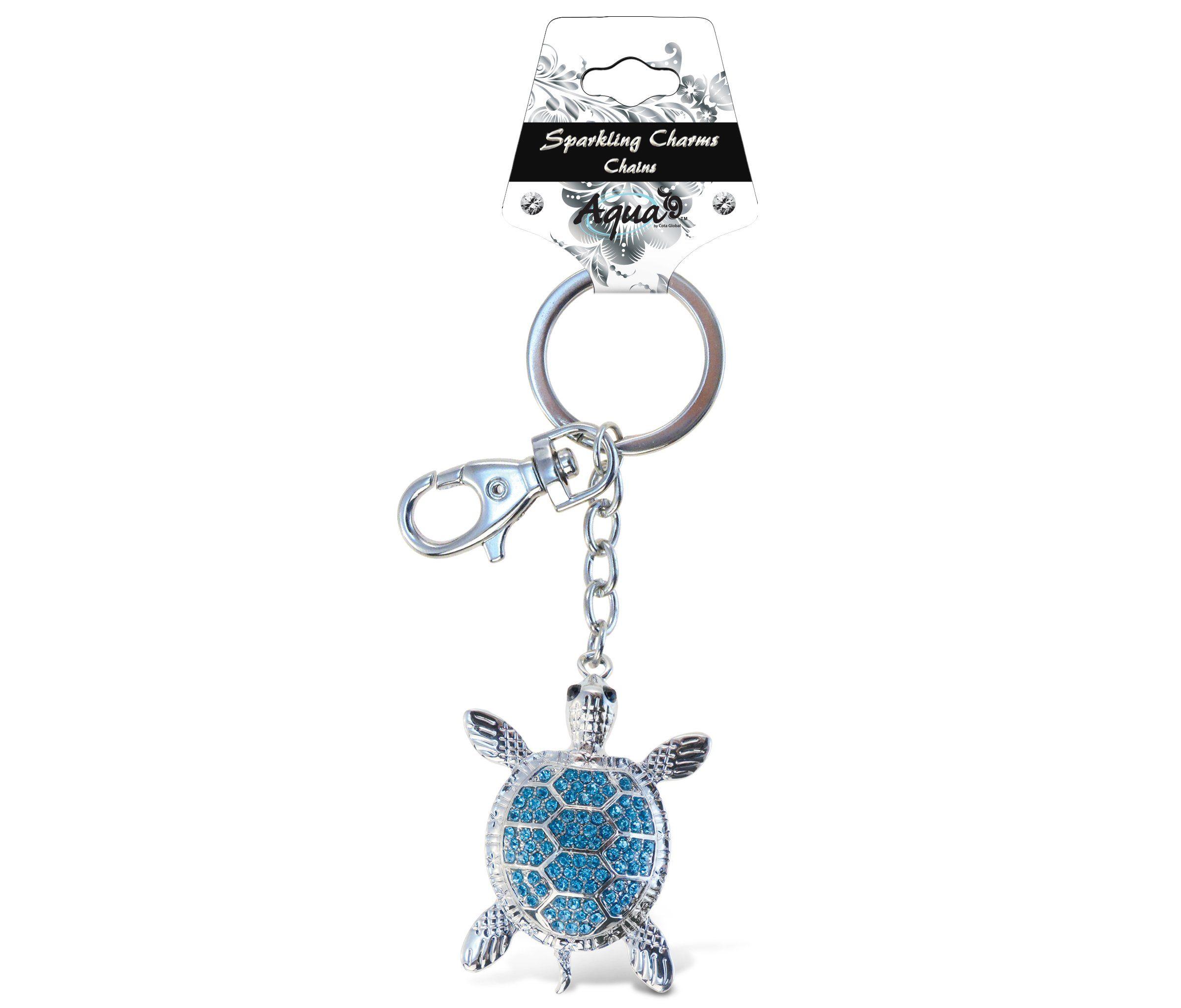 Blue sea turtle sparkling charm elegant key chain by