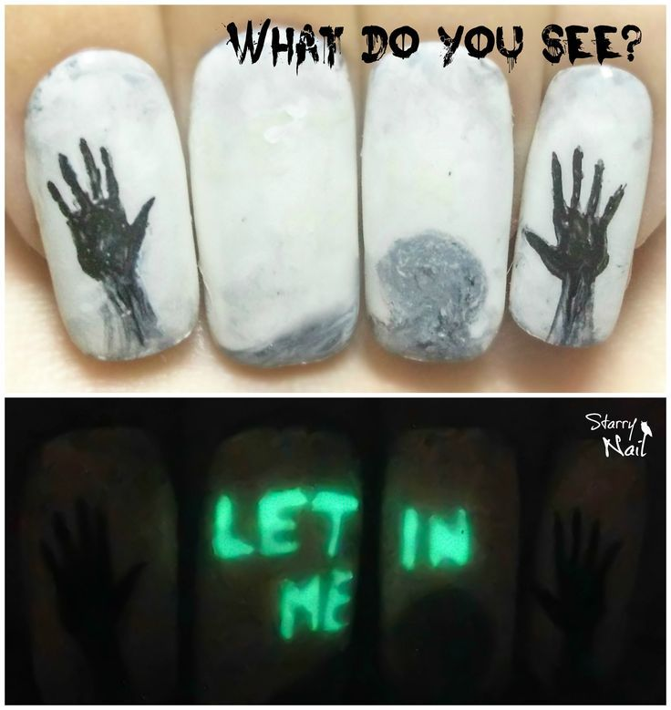 Invisible Creepy Message ⎮Glow in the Dark Halloween Freehand Nail ...