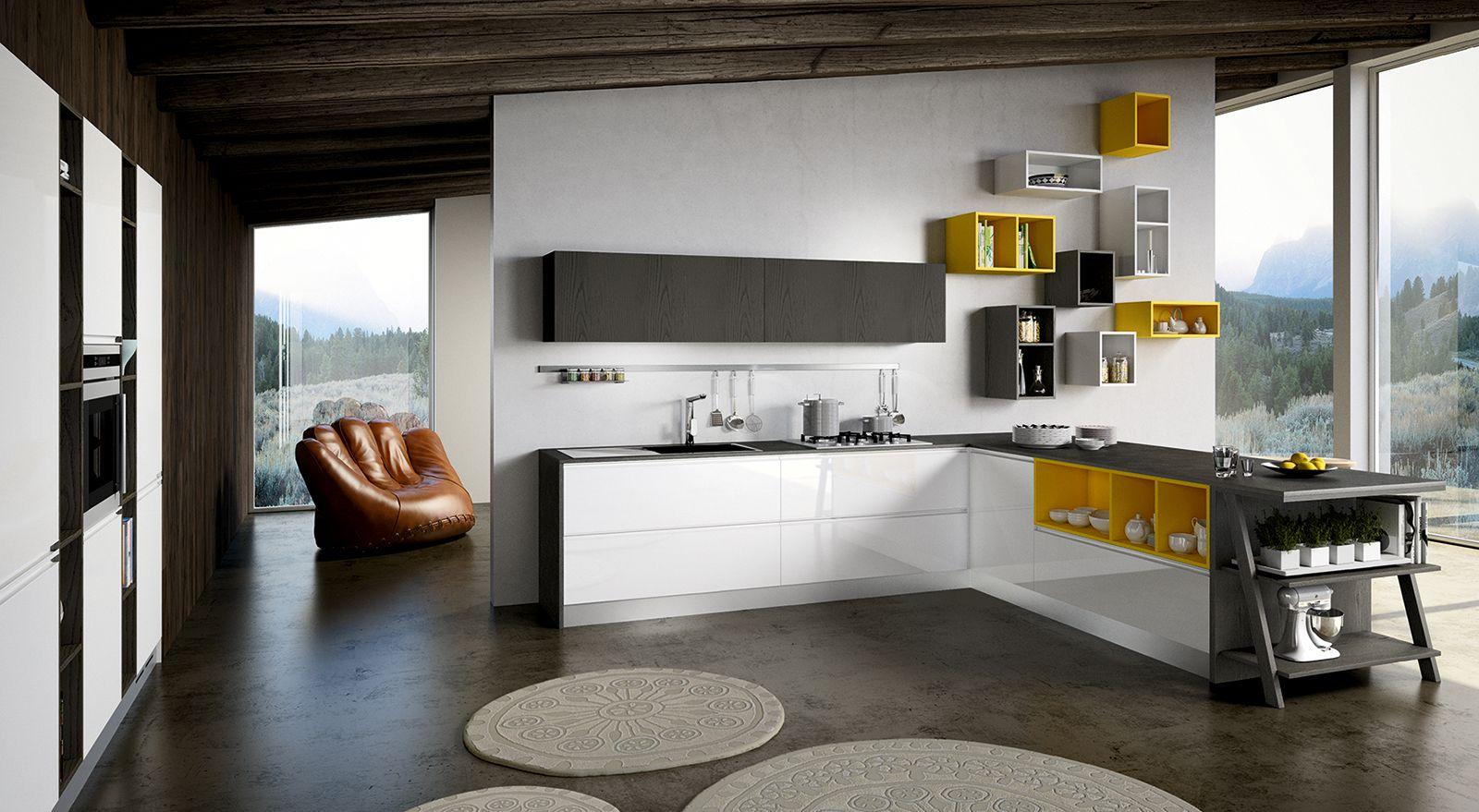 Cucina in bianco più colore: le nuove composizioni moderne ...