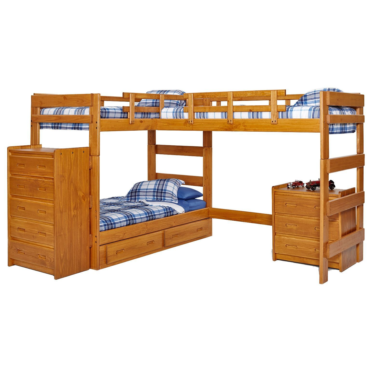 Loft bed with desk on bottom  Comfortably sleep three with this bunk bed from Woodcrest Available