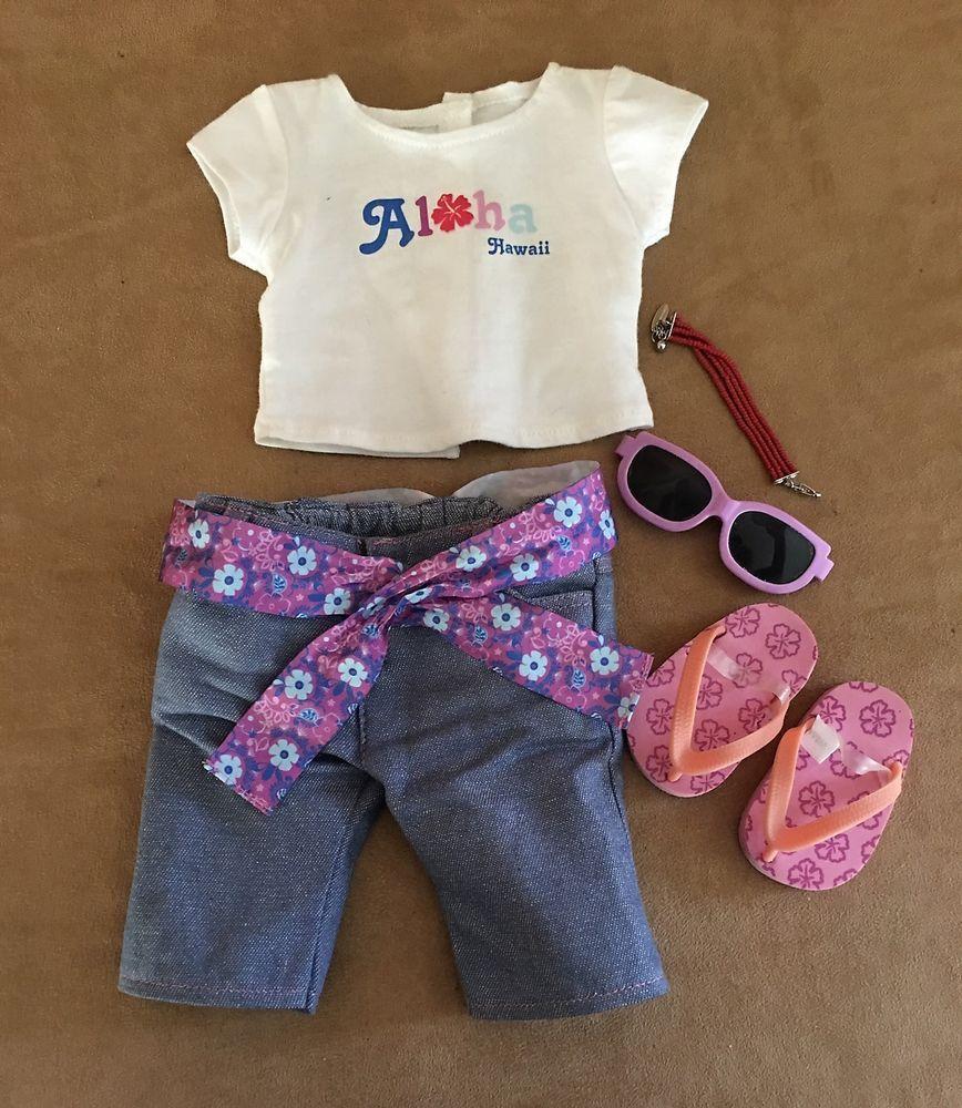 Kananai Aloha outfit American Girl doll clothing t-shirt shoes glasses pants #AmericanGirl #ClothingShoes